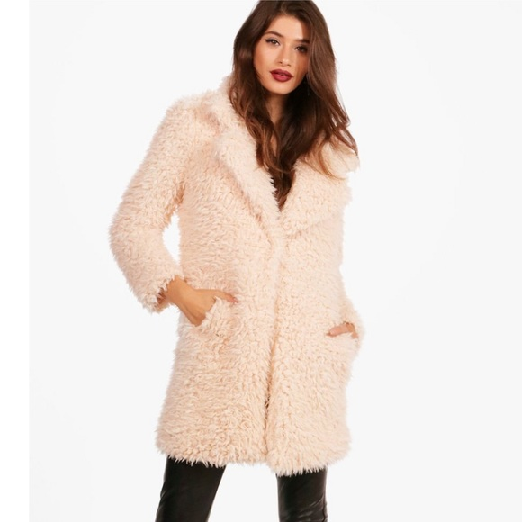 Boohoo Shaggy Fur Coat / beige